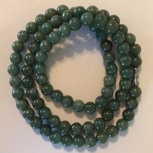 "Jewelry - NEW! Green GradeA Jade 23"" Necklace 7.5mm Beads"